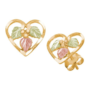 Hearts of Foliage Black Hills Gold Earrings I - Jewelry