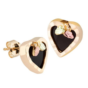 Elegant Onyx Hearts Black Hills Gold Earrings - Jewelry