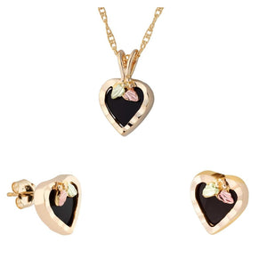 Black Hills Gold Onyx Hearts Earrings & Pendant Set III