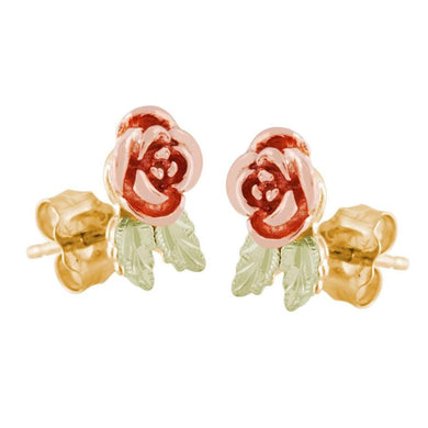 Rose Foliage Black Hills Gold Earrings II - Jewelry