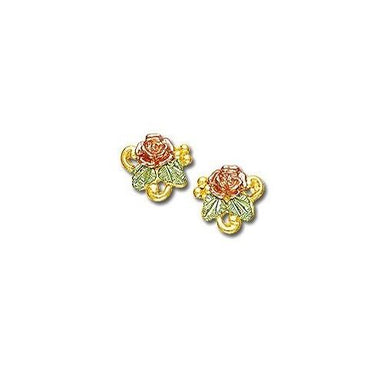 Rose Foliage Black Hills Gold Earrings I - Jewelry