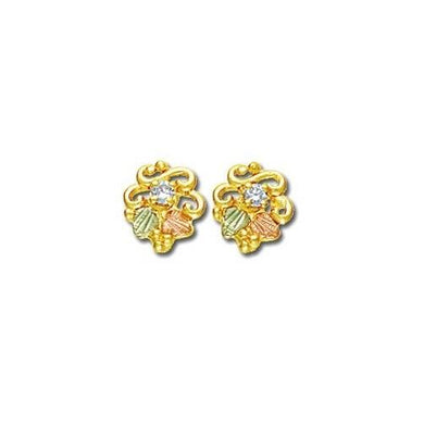 Diamond Foliage Black Hills Gold Earrings IV - Jewelry