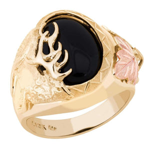Mens Onyx Buck Black Hills Gold Ring - Jewelry