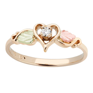 Black Hills Gold Diamond Heart Ring
