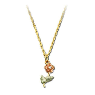 Black Hills Gold Diamond Rose Pendant & Necklace - Fortune And Glory - Made in USA Gifts