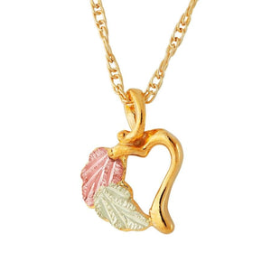Black Hills Gold Leafy Heart Pendant & Necklace - Jewelry