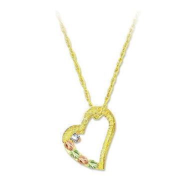 Black Hills Gold Diamond Heart Pendant & Necklace III - Fortune And Glory - Made in USA Gifts