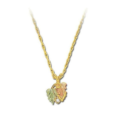 Black Hills Gold Lil Diamond Leaves Pendant & Necklace II - Fortune And Glory - Made in USA Gifts