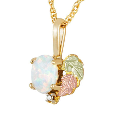 Black Hills Gold Opal Diamond Pendant & Necklace - Fortune And Glory - Made in USA Gifts
