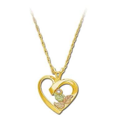 Black Hills Gold Diamond Heart Pendant & Necklace II - Fortune And Glory - Made in USA Gifts