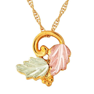 Black Hills Gold Elegant Foliage Pendant & Necklace VIII - Jewelry