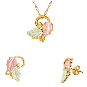 Black Hills Gold Foliage Grapes Earrings & Pendant Set IV