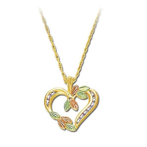 Black Hills Gold Heart of Diamonds Pendant & Necklace - Fortune And Glory - Made in USA Gifts