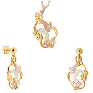 Black Hills Gold Hummingbird Fancy Earrings & Pendant Set