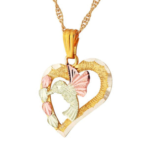 Black Hills Gold Hummingbird Heart Pendant & Necklace - Jewelry