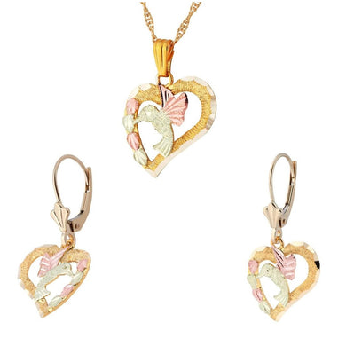Black Hills Gold Hummingbird Heart Earrings & Pendant Set