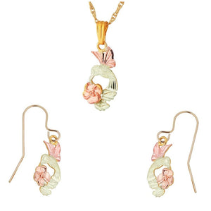 Black Hills Gold Hummingbird Rose Earrings & Pendant Set
