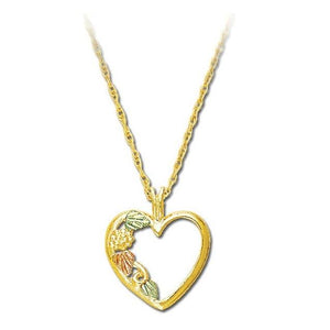 Black Hills Gold Leafy Heart Pendant & Necklace II - Jewelry