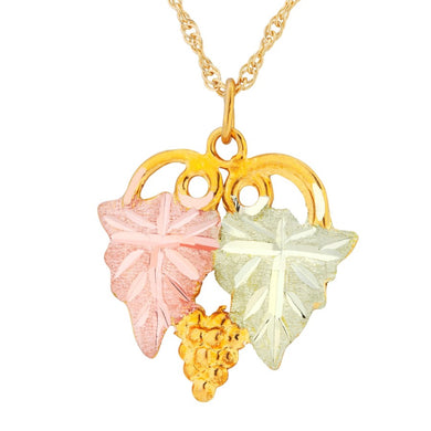 Black Hills Gold Double Leaves Pendant & Necklace