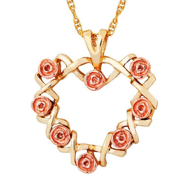 Black Hills Gold 9 Roses Pendant & Necklace - Jewelry