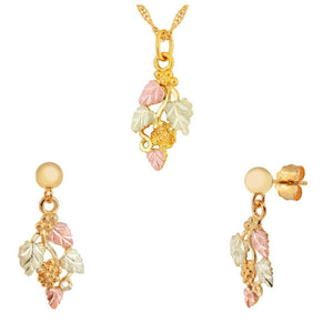 Black Hills Gold Superb Foliage Earrings & Pendant Set II