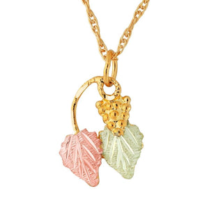 Black Hills Gold Elegant Foliage Pendant & Necklace IX - Jewelry