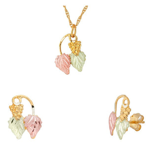 Black Hills Gold Foliage Grapes Earrings & Pendant Set III