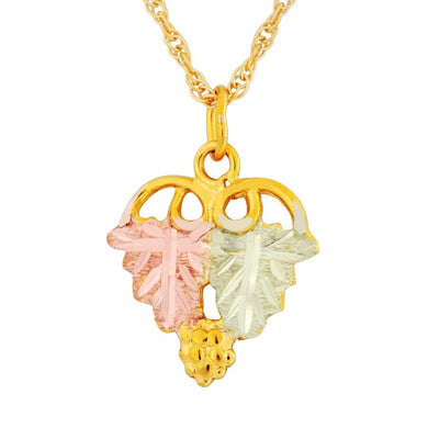 Black Hills Gold Leaves Grape Bunch Pendant & Necklace - Jewelry