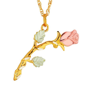 Black Hills Gold Classic Rose Pendant & Necklace - Jewelry