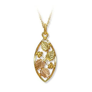 Black Hills Gold Foliage Oval Pendant & Necklace - Jewelry