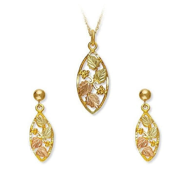 Black Hills Gold Foliage Oval Earrings & Pendant Set