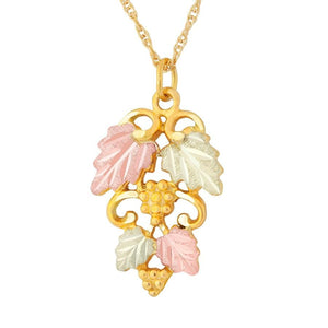 Black Hills Gold Elegant Foliage Pendant & Necklace - Jewelry