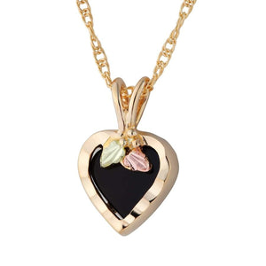 Black Hills Gold Onyx Heart Pendant & Necklace - Jewelry