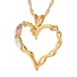 Black Hills Gold Intricate Heart Pendant & Necklace - Jewelry