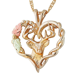Black Hills Gold Deer Heart Pendant & Necklace - Jewelry