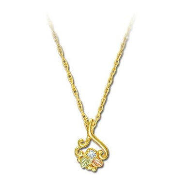 Black Hills Gold Lil Diamond Leaves Pendant & Necklace - Fortune And Glory - Made in USA Gifts