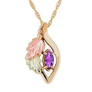 Black Hills Gold Marquise Amethyst Pendant & Necklace