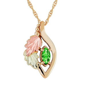 Black Hills Gold Marquise Emerald Pendant & Necklace