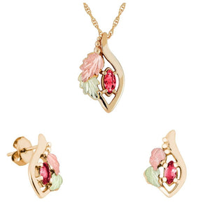 Black Hills Gold Marquise Ruby Earrings & Pendant Set