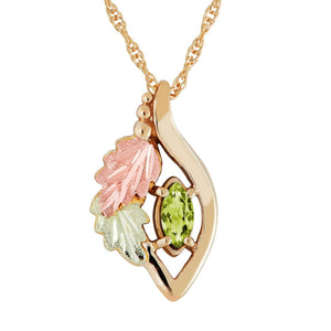 Black Hills Gold Marquise Peridot Pendant & Necklace