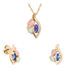 Black Hills Gold Genuine Sapphire Earrings & Pendant Set