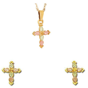 Black Hills Gold Crosses Earrings & Pendant Set III