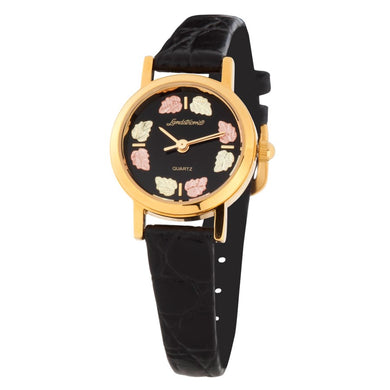 Black Hills Gold Leather Band Ladies Watch
