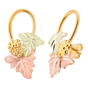 Grapes And Foliage Black Hills Gold Earrings V - Jewelry
