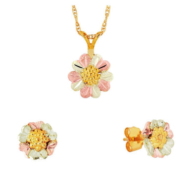 Black Hills Gold Foliage Flower Earrings & Pendant Set
