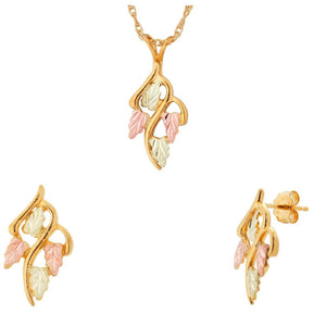 Black Hills Gold Traditional Earrings & Pendant Set VI