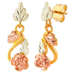 Rose Foliage Black Hills Gold Earrings V - Jewelry