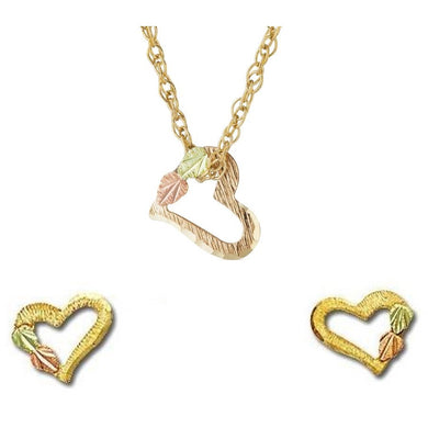 Black Hills Gold Foliage Hearts Earrings & Pendant Set II