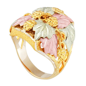 Mens Black Hills Gold Thick Leaves Ring - Jewelry