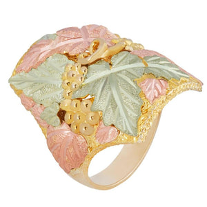 Mens Black Hills Gold Thick Leaves Ring II - Jewelry